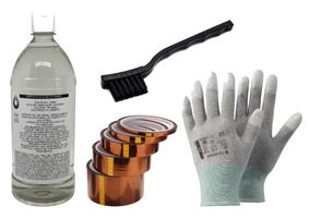Kit Eletrônica: Alcool + Luva + Fita + Escova Esd