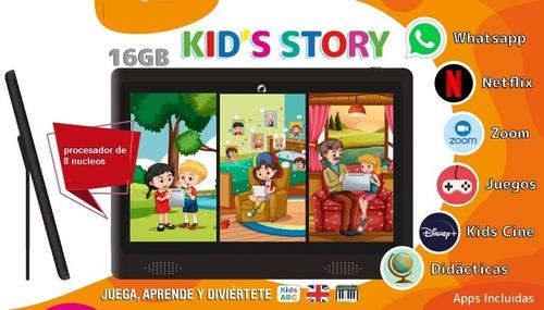 Imagen 1 de 9 de Tablet Para Niños +silicona+reloj+stickers+juegos De Regalo