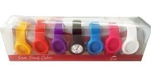 Relógio Troca Pulseira Unissex Sete De Silicone Coloridas