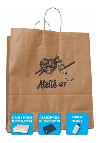 Imagem 1 de 8 de Carimbe Sacolas E Sacos Kraft Personalize Agora Com Sua Logo