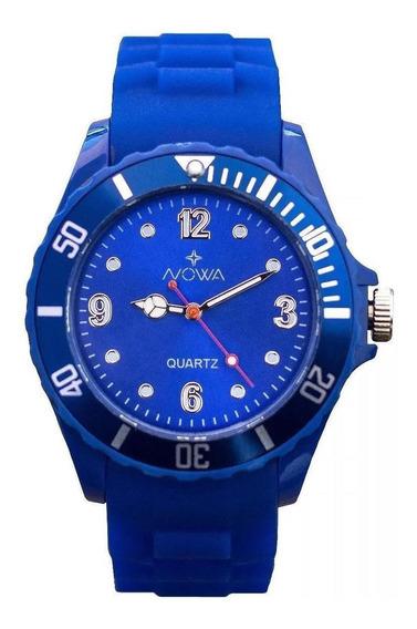 Relógio Nowa Feminino Borracha Nw0522ak Azul + Kit