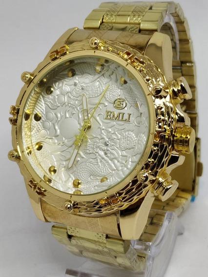 Kit 2x Relógio Luxo Dourado Militar Potenzia Barato+ Caixa