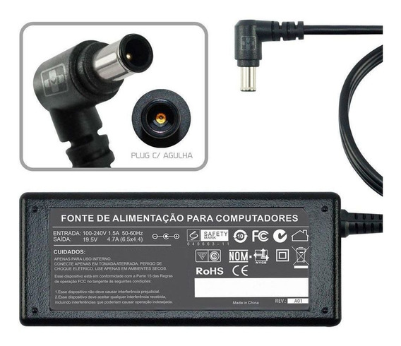 Fonte Carregador Para Notebook Sony Vaio Pcg-fr77/b 19,5v Mm 493