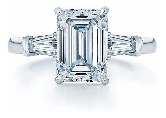 Anillo De Diamante Corte Esmeralda Con Baguettes Y Oro 14k.