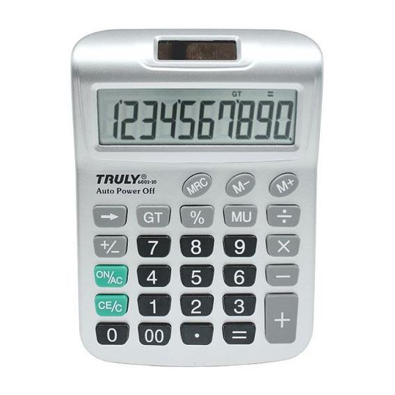 Calculadora De Mesa Truly 6001 Visor Grande 10 Dígitos Prata