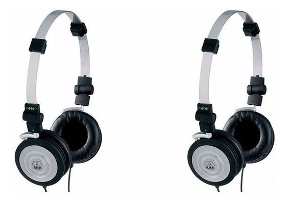Kit Com 2 Fones De Ouvido Akg K414p 414p K414 Original + Bag