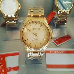 Relógio Dourado Banhado A Ouro Prova Dágua Original+brinde
