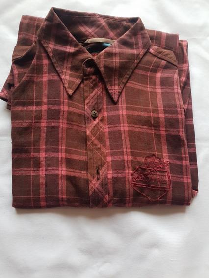 Oferta Camisa Zara Hombre A Cuadros Café Mediana