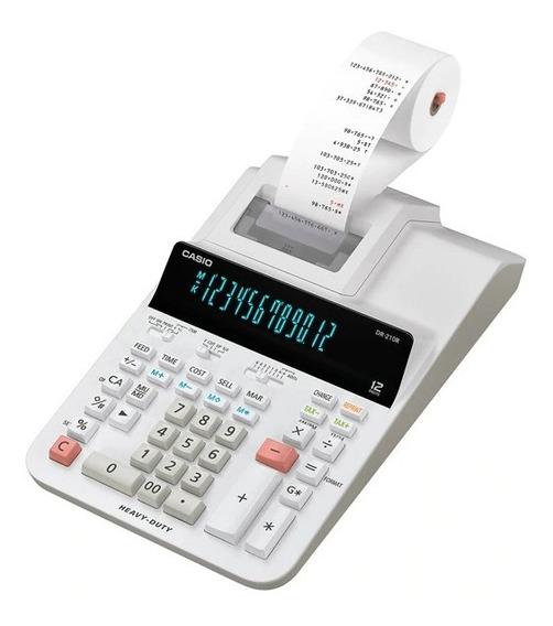 Calculadora Casio Com Visor Fita De Escritorio Dr-210r-we