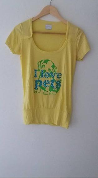 Remera Amarilla Marca Pink Box I Love Pets