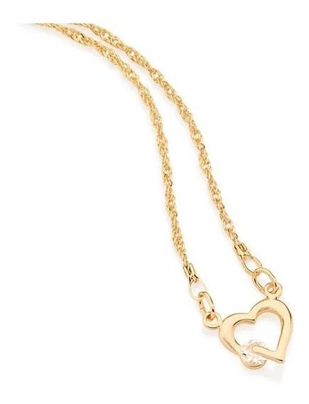 Cordão Fio Cingapura Coração Com Cristal Fol A Ouro 531182