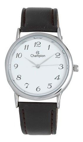Relógio Champion Masculino Ch22288q Pulseira De Couro Marrom