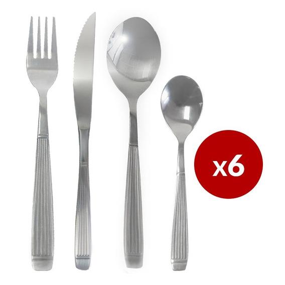 Cubiertos Rayados X24 Cuchillo Tenedor Cuchara Y Cuchara Té