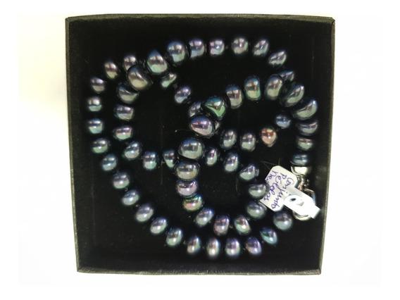 Conjunto De Pérolas Negras (colar E Pulseira)