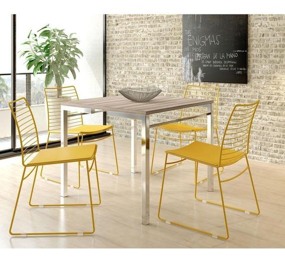 Conj De Mesa Carraro 1525+4 Cadeiras 1712-nogueira/amrl Ouro