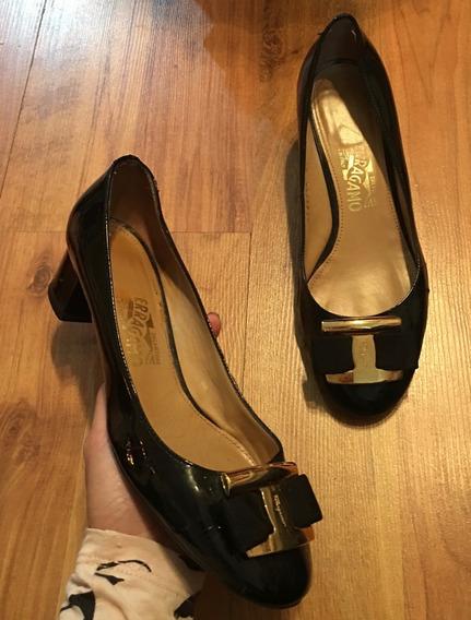 Zapatos Flats Tacones Salvatore Ferragamo 24 Y Medio Origina