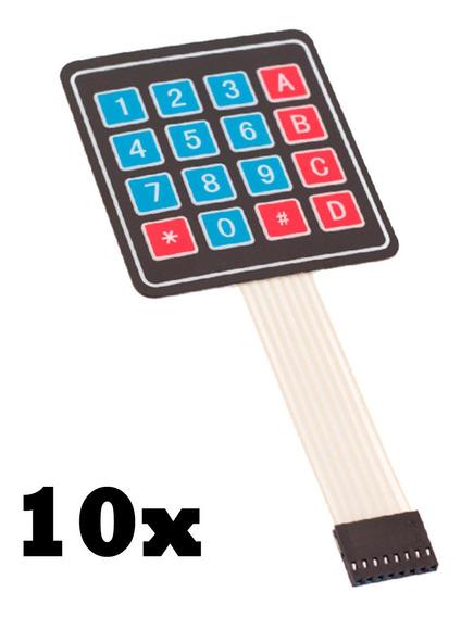 Kit 10x Teclado Membrana Matricial 4x4 16 Teclas - Arduino