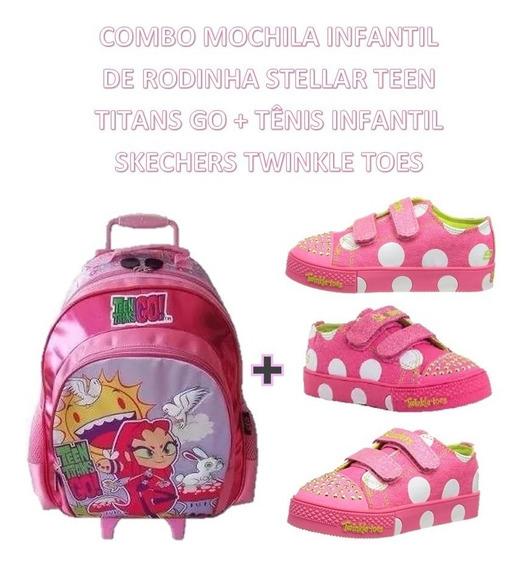 Mochila Infantil Rodinhas Teen Titans + Tênis Skechers N°22