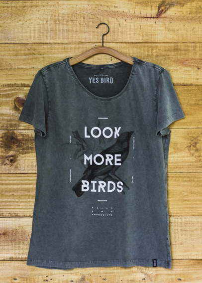 T-shirt Yes Bird Feminina Look More Birds - Verde Estonado