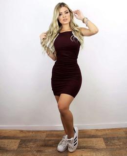 Vestido Tubinho Curto Justo Moda Blogueira 2018 Canelado