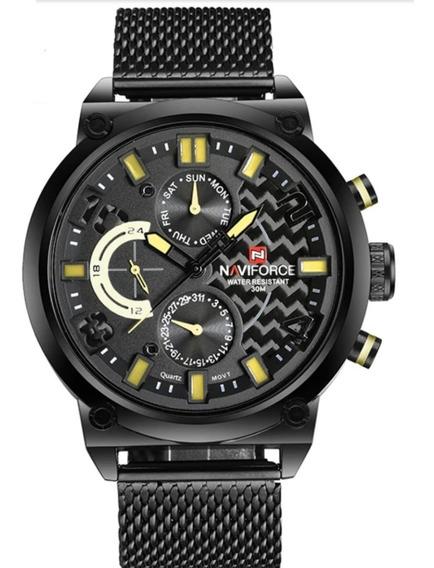 Relógio Masculino Naviforce Quartzo 9068 Caixa Original Aço