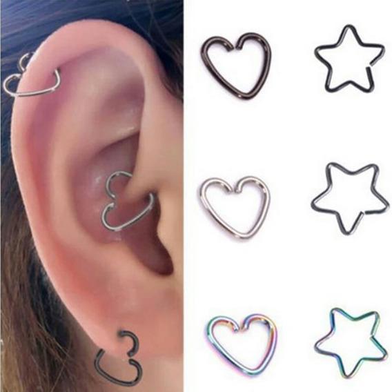 2 Piezas Argolla Corazón Estrella Clip Nariz Piercing Aretes