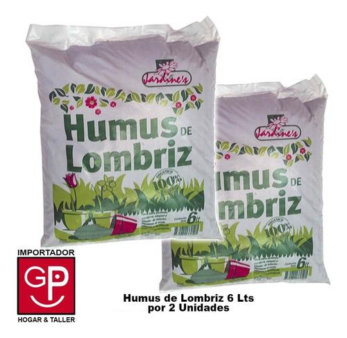 Humus De Lombriz Jardines Orgánico Por 2 Unidades De 6 Lts