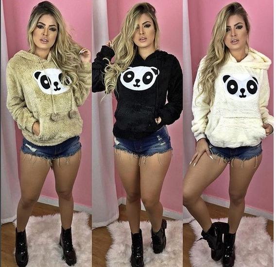 Blusa Frio Feminina Inverno Panda Modelo Canguru Pelinho