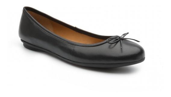 Flexi Zapato De Piso Balerina Flats Negro Moño Piel Mujer