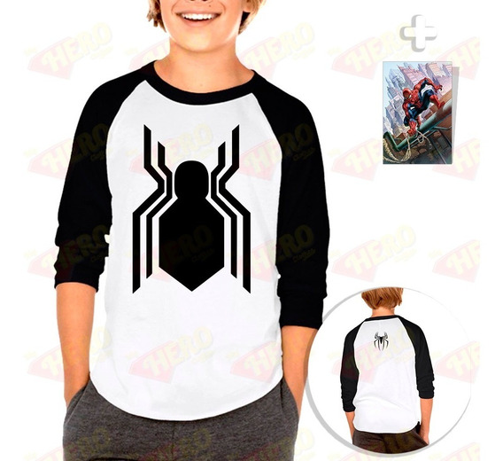 Envío Gratis Playera Raglan Niño Spiderman Lejos De Casa + Sticker