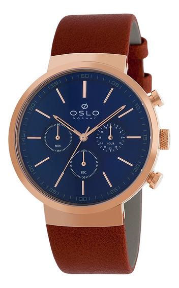 Relógio Oslo Omrsccvd0002 D1mx Couro Feminino