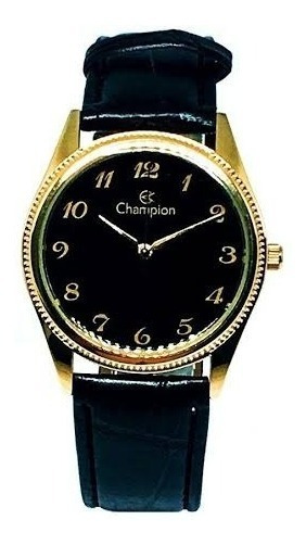 Relógio Champion Social Dourado Ch22171p Em Couro