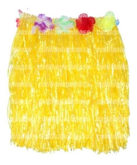 1 Pollera Hawaiana Hula Con Flores 40cm Disfraz Carnaval