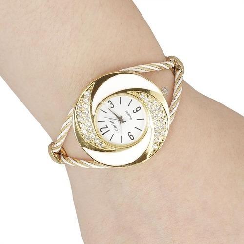 Relógio Feminino Bracelete Na Cor Dourado Com Strass 2020