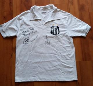 Camisa Santos Autografada Por Coutinho, Pepe, Dorval, Menga