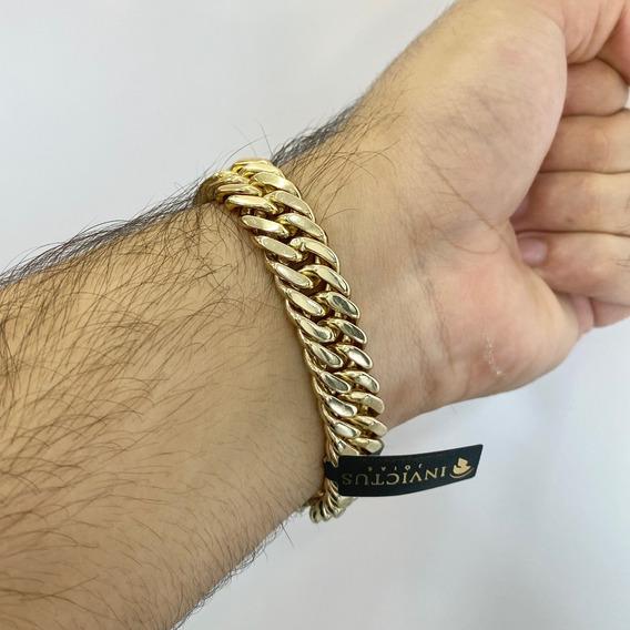 Pulseira Lacraia Masculina 13mm Banhada A Ouro 18k