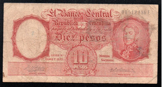 Billete Argentina 10 Pesos Moneda Nacional Bottero 1958