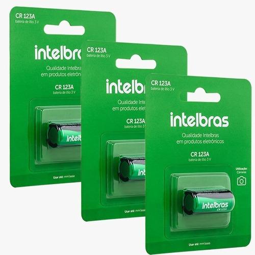 Imagem 1 de 3 de Kit 3 Baterias Não Recarregável Lítio 3v Cr123a Intelbras
