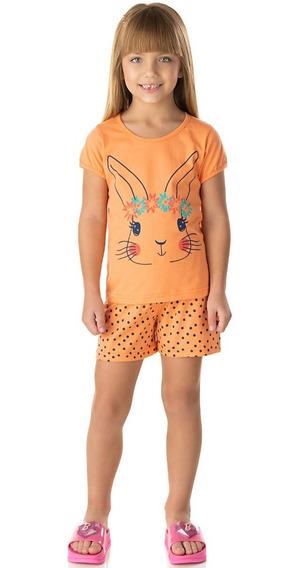 Pijama Infantil Menina Conjunto Meia Manga E Short Isensee