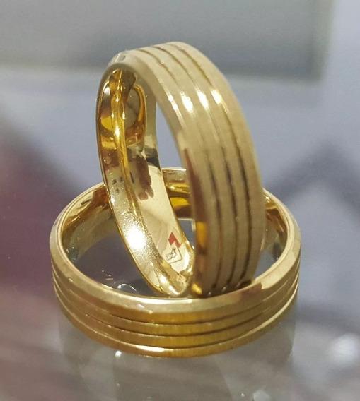Aliança Banhada Ouro 18k Casamento 4 Mm (1 Unidade)