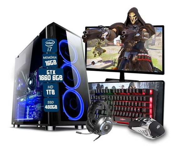 Pc Gamer Completo Eros I7 Gtx 1660 16gb Hd1tb Ssd480gb Wi-fi