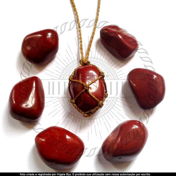 Colar Pedra Natural Jaspe Vermelho Cordão Cor Palha Hippie