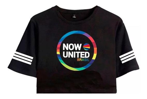 Cropped Camiseta Now United Brasil Oferta Faixa Mangas