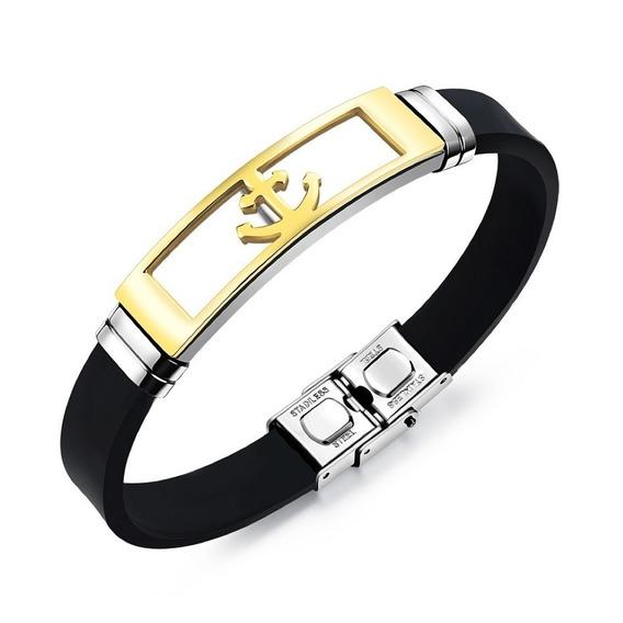 Pulseira Masculina Bracelete Silicone + Aço + Âncora Dourada