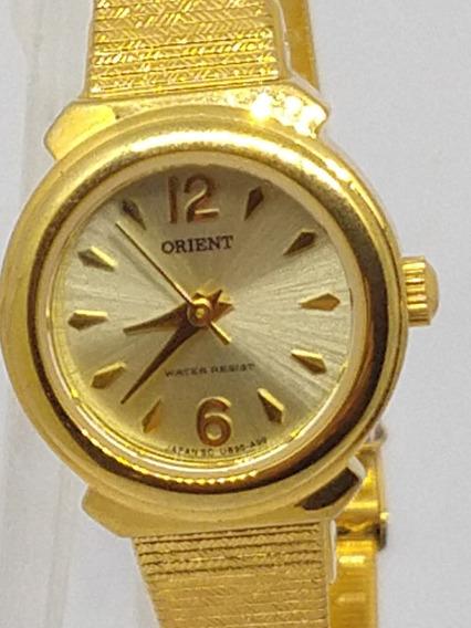 Relógio Feminino Orient Quartz Novo/ Banho De Ouro