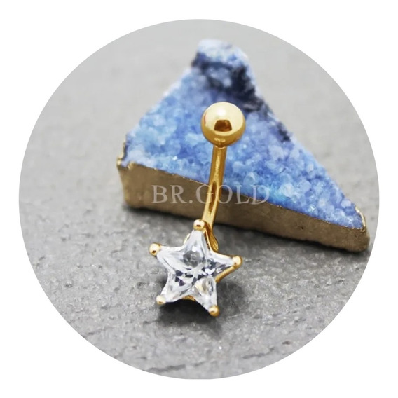 Piercing De Estrela Para Umbigo Delicado Banhado A Ouro 18k