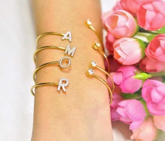 Bracelete Letra Ródio E Zircônia B Ouro 18k M C A S