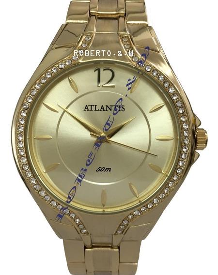 Relógio Feminino Original Atlantis Dourado Diamante Caixinha