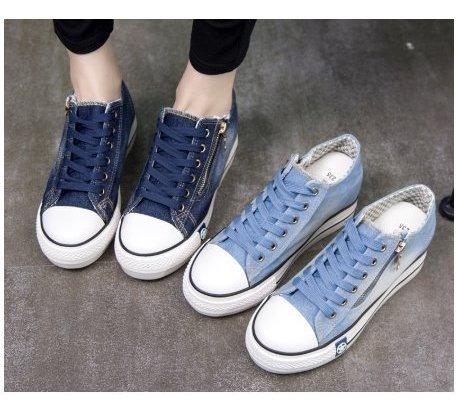 Tênis Plataforma Casual Sola Alta Jeans Azul Claro Ou Azul Escuro Tenis Feminino Com Zíper Importado A Pronta Entrega