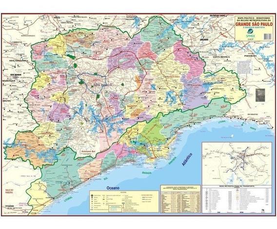 Mapa Grande São Paulo Baixada Santista 120x90cm Gigante